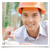 Young adult wearing a hard hat